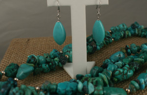 Turquoise earrings and cluster necklace #commonwealthimports #silverstars