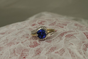 14karat white and yellow tanzanite diamond bipass ring #GBC