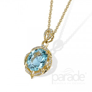 18 Karat Yellow and White Gold Pendant with Oval Aqua and diamonds