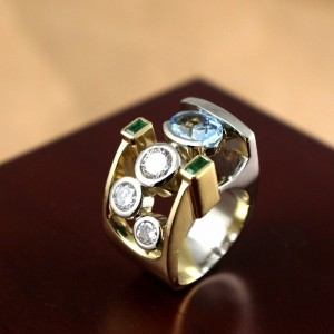 14 Karat Yellow and White Gold Multi Stone Custom Made Ring